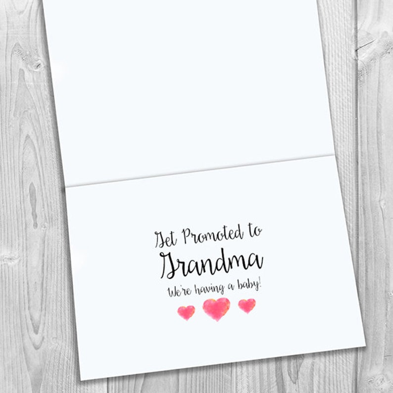 Watercolor Heart PRINTED CUSTOM Only the Best Stepmoms Get Promoted to Grandma Pregnancy Announcement 5x7 Greeting Card