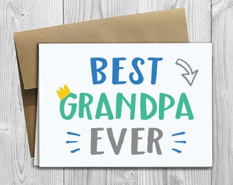 Best Grandpa Ever - Simply Stated - Father's Day / Birthday / Any Occasion - Greeting Card - PRINTED 5x7 Notecard
