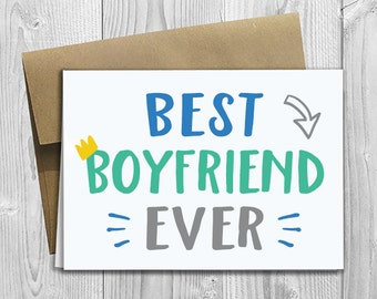 Best Boyfriend Ever - Simply Stated - Father's Day / Birthday / Any Occasion - Greeting Card - PRINTED 5x7 Notecard
