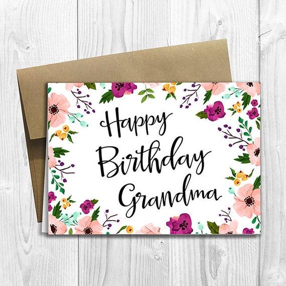 Joyeux Anniversaire Mamie Floral Notecard De Fleurs Carte Etsy