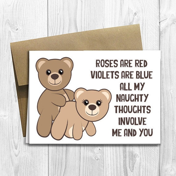 PRINTED Naughty Thoughts Cute Teddy Bears - Valentine's Day / Birthday / Anniversary / Any Occasion - 5x7 Sized Greeting Card -  Notecard