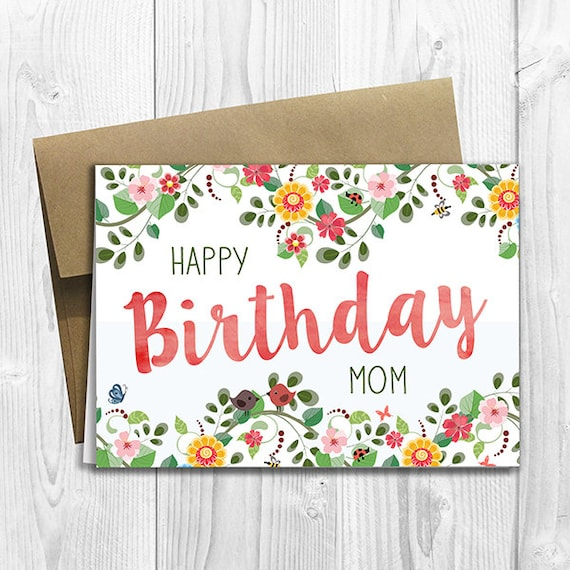 Printed Floral Watercolor Happy Birthday Mom 5x7 Greeting Card Etsy