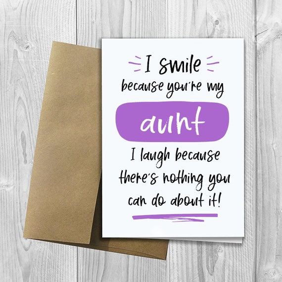PRINTED I Smile Because Youre My Aunt 5x7 Greeting Card