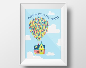Up House Print, Instant Download, Disney Print, Up House Illustration, Up House wedding gift