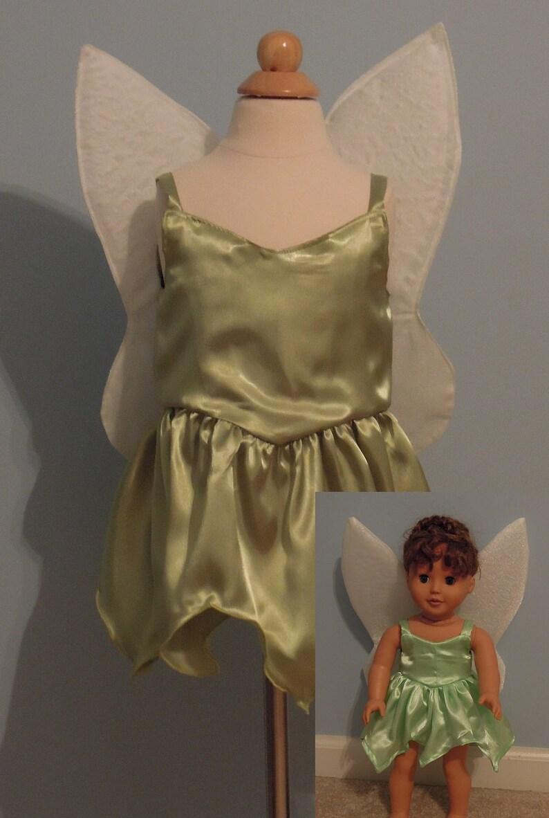 6b4a2d660 TinkerBell Fairy dress with matching 18 doll dress.