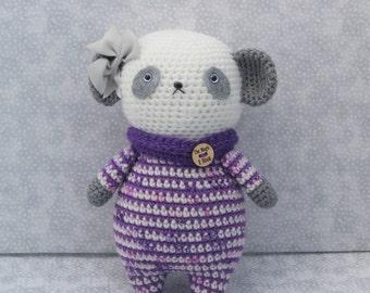 panda in pajamas amigurumi doll ( ready to ship.)