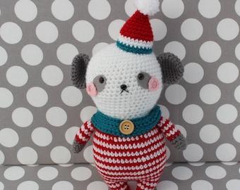 panda bear in pajamas , amigurumi softie (ready to ship)