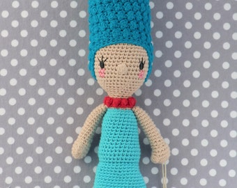 100% Cotton Amigurumi doll with blue beehive ( Ready to ship)