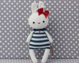Rabbit doll teal stripes and red bow ( Ready to ship)