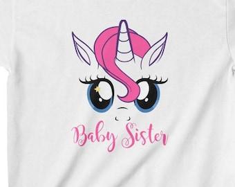 Baby Sister Shirt Girl Unicorn Sister Shirt Rainbow Unicorn T Shirt