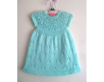 Hannah Dress - Knitting Pattern - Baby girl to age 6  - Instant Download PDF