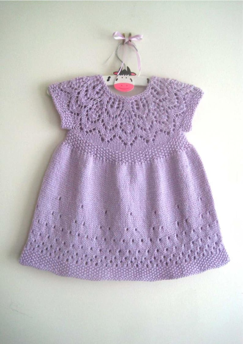Baby Dress Knitting pattern, Girls lace dress knitting pattern