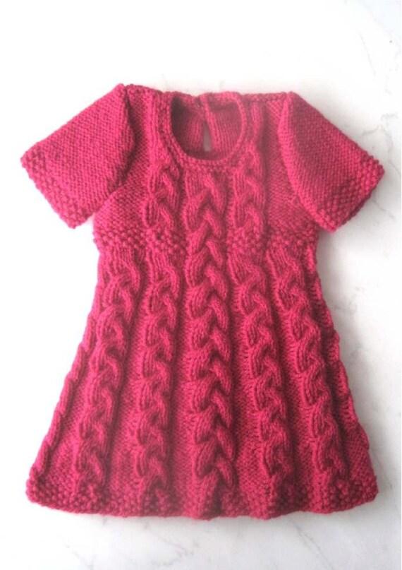 Baby Dress Knitting Pattern Instant Download Pdf 6 Sizes Etsy