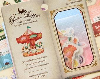 Kawaii Carrousel Vintage Flake Stickers Pack (32Pcs)