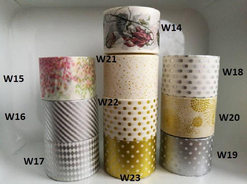 Vintage Flower Washi Tape Sample Gold wide washi tape Pick your own Wild Flowers Wide Washi Tape Samples