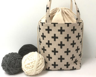 Large Knitting Bag, Swiss Cross with Natural Cotton Drawstring and Canvas Lining, Knitting Project Tote Bag, Drawstring, Crochet Tote  Bag