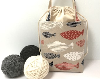 Large Knitting Bag, Red White & Blue Fish with Natural Cotton Drawstring and Canvas Lining, Knitting Project Tote Bag, Crochet Tote  Bag