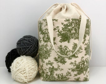 Large Knitting Bag, French Toile with Natural Cotton Drawstring and Canvas Lining, Knitting Project Tote Bag, Drawstring, Crochet Tote  Bag