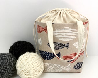 Medium Knitting Bag, Red White & Blue Fish with Natural Cotton Drawstring and Canvas Lining, Knitting Project Tote Bag, Crochet Tote  Bag