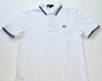 8d51ad739 Fred Perry Polo Shirt White Dark Green Size Medium