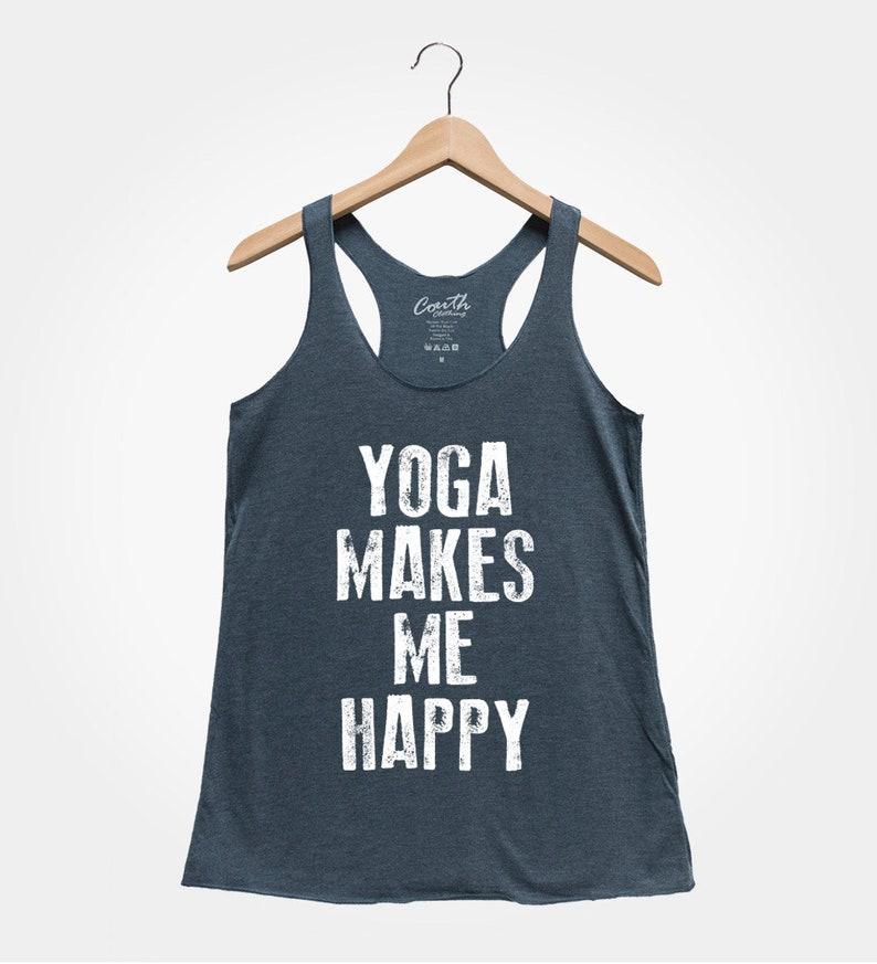 97a90281b343 Yoga Makes Me Happy But First Yoga Yoga Shirt Fitness Gym   Etsy