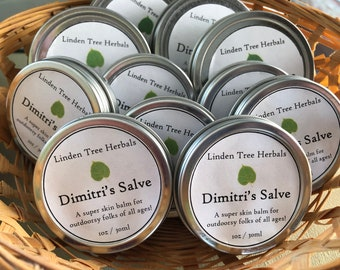 Dimitri's Outdoor Salve // Wildcrafted Herbal Skin Healing Balm with Organic Lavender, Plantain leaf, Chickweed / Safe for kids & pets!