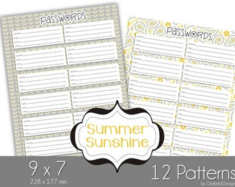 9x7 Website Password Printable Planner Pages - Summer Sunshine Collection