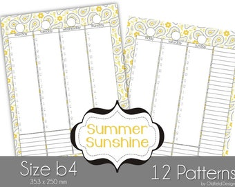 B4 Printable Planner Pages - Summer Sunshine Collection