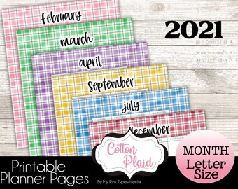 2021 Monthly Planner Printable   Fully dated   Letter Size and Classic Happy Planner