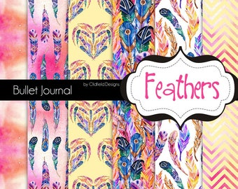 Grid Dots Bullet Journal Printable Paper, 9x7 - Feathers Collection