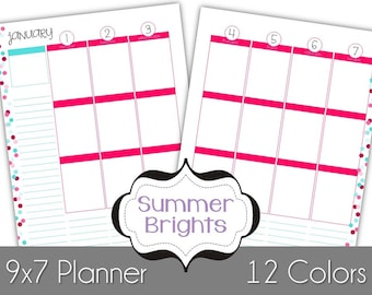 2018 Summer Brights Collection - Week & Month Spreads Fully Dated for 2018 - Printable Planner Pages
