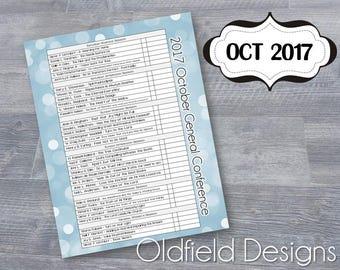 LDS General Conference Printable Planner Insert - October 2017