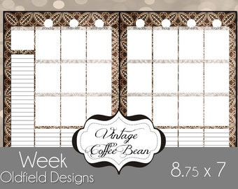 9x7 Printable Planner Pages - Weekly Spread - can be used with Happy Planners, or as an Erin Condren Insert - Vintage Coffee Bean
