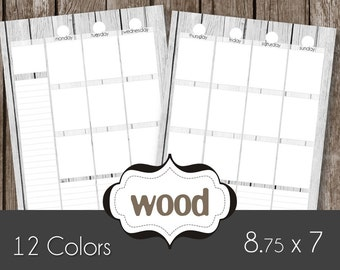 Printable Planner Pages - Weekly Spread - Wood Shabby Chic