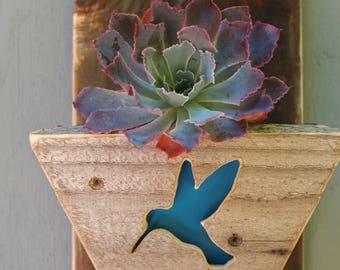 Reclaimed Wood Planter - Hummingbird - Succulent Planter - Beach Decor - Wall Planter - Vertical Garden - MADE TO ORDER