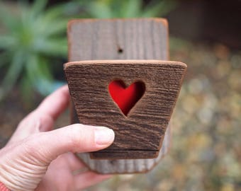 Wall planters small ,  Wood Succulent Planter , Planter with hooks and heart , Indoor or Outdoor with Drainage – Get Succulent Gift Ideas !