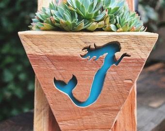 Succulent planter - Mermaid -hanging planter- beach decor - vertical garden - wood - wall art - mermaid tail - mermaid decor - succulent pot