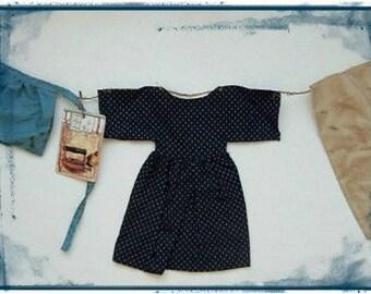 Primitive Folk Art Doll Dress - Blue Laundry Line - Apron Pants - Prim Tag