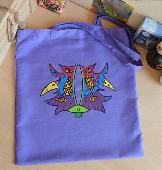 993994deae80 Hand painted tote bag with mushroom mushroom shopping bag