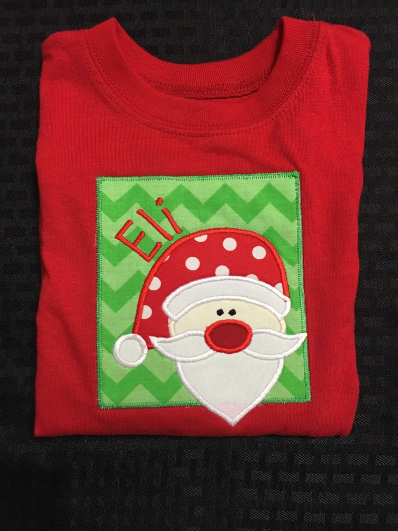 824ba88d9265 Red long sleeve knit toddler/boys Santa applique tshirt | Etsy