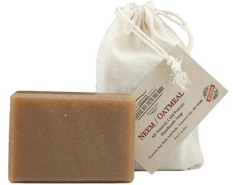 Neem Oatmeal, all natural soap, handmade soap, cold process soap, vegan soap, essential  oil soap