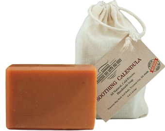 Soothing  Calendula, all natural handmade soap, Cold process vegan soap