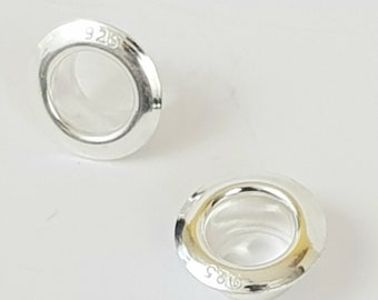 5mm Sterling 925 Silver Bead Core, Grommet, Eyelet, Rivet, Carnation Sterling 925 Silver 8.8mm, (5mm Hole)
