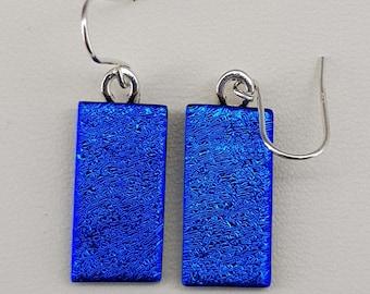 Dichroic Glass Drop Earrings - Set on 925 Silver - kiln fired - Azure - Blue