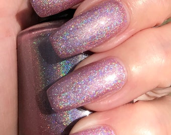 Honey Im Home  pink holo nail polish