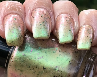 Green and Bare It  color shift nail polish
