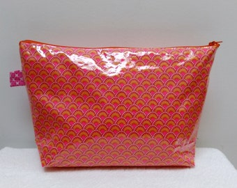 """Cotton toiletry bag coated """"small pan"""" pink and orange wasabi"""
