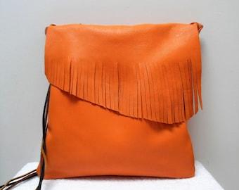 Shoulder bag, orange fringed leather bag,