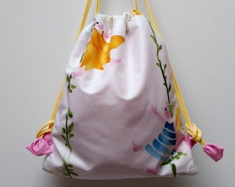 Snack bag, pouch bag, child backpack in hand-painted designer fabric