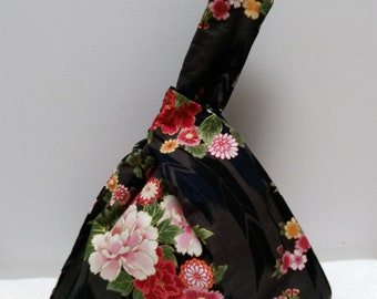 Small reversible Japanese bag, evening bag, bento bag
